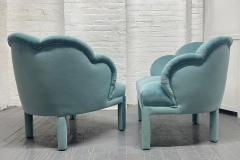 Pair of 1940s Art Deco Scalloped Top Club Chairs - 1950861