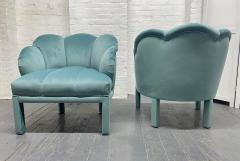 Pair of 1940s Art Deco Scalloped Top Club Chairs - 1950863
