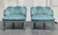 Pair of 1940s Art Deco Scalloped Top Club Chairs - 1950864