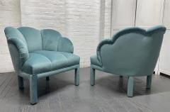 Pair of 1940s Art Deco Scalloped Top Club Chairs - 1950865
