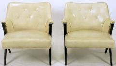 Pair of 1940s Modernist Club Chairs in Original Bone Glazed Leather - 134539