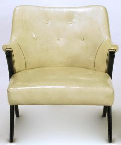 Pair of 1940s Modernist Club Chairs in Original Bone Glazed Leather - 134540