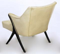 Pair of 1940s Modernist Club Chairs in Original Bone Glazed Leather - 134543