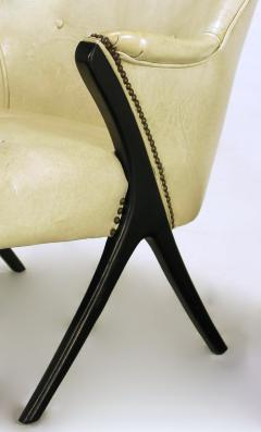 Pair of 1940s Modernist Club Chairs in Original Bone Glazed Leather - 134545