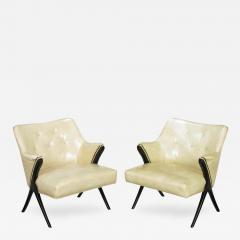 Pair of 1940s Modernist Club Chairs in Original Bone Glazed Leather - 137239