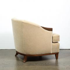 Pair of 1950s American Mid Century Modern Ecru Mohair Walnut Arm Chairs - 1866265