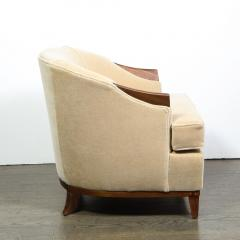 Pair of 1950s American Mid Century Modern Ecru Mohair Walnut Arm Chairs - 1866266