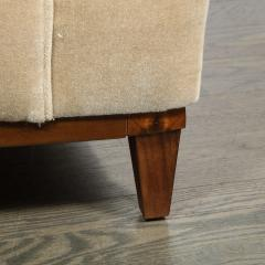 Pair of 1950s American Mid Century Modern Ecru Mohair Walnut Arm Chairs - 1866271