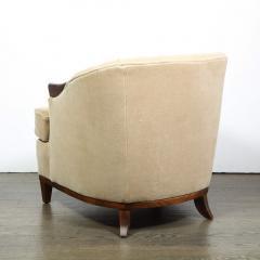 Pair of 1950s American Mid Century Modern Ecru Mohair Walnut Arm Chairs - 1866280