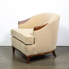 Pair of 1950s American Mid Century Modern Ecru Mohair Walnut Arm Chairs - 1866282
