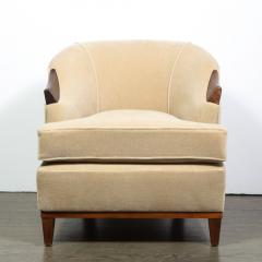 Pair of 1950s American Mid Century Modern Ecru Mohair Walnut Arm Chairs - 1866284