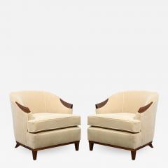 Pair of 1950s American Mid Century Modern Ecru Mohair Walnut Arm Chairs - 1873489