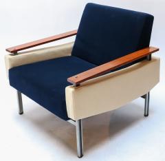 Pair of 1950s Brazilian Caviuna Two Tone Velvet Armchairs - 988771