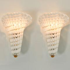 Pair of 1950s Italian Murano glass and brass fluted wall light - 1570268
