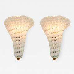 Pair of 1950s Italian Murano glass and brass fluted wall light - 1572754