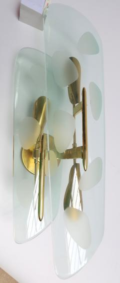 Pair of 1950s Italian Sconces with Etched Glass and Brass Frames - 307359