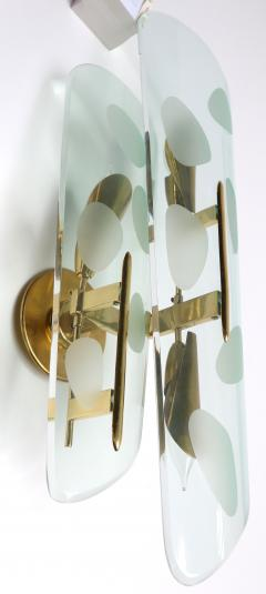 Pair of 1950s Italian Sconces with Etched Glass and Brass Frames - 307362