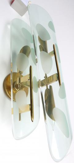 Pair of 1950s Italian Sconces with Etched Glass and Brass Frames - 307363