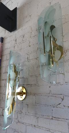 Pair of 1950s Italian Sconces with Etched Glass and Brass Frames - 307364