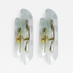 Pair of 1950s Italian Sconces with Etched Glass and Brass Frames - 307535