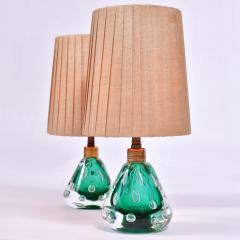 Pair of 1950s Italian emerald green Murano table lamps - 1485365