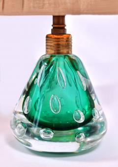 Pair of 1950s Italian emerald green Murano table lamps - 1485366