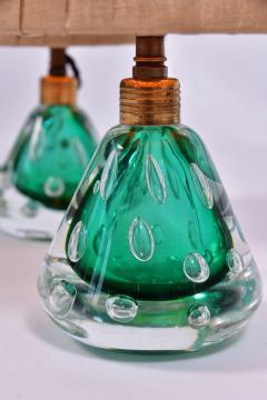 Pair of 1950s Italian emerald green Murano table lamps - 1485367