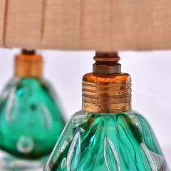 Pair of 1950s Italian emerald green Murano table lamps - 1485368
