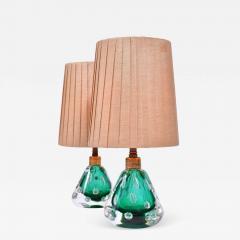 Pair of 1950s Italian emerald green Murano table lamps - 1486632