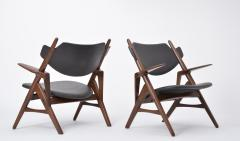 Pair of 1950s Vintage Black Midcentury Chairs - 855531