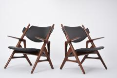 Pair of 1950s Vintage Black Midcentury Chairs - 855533