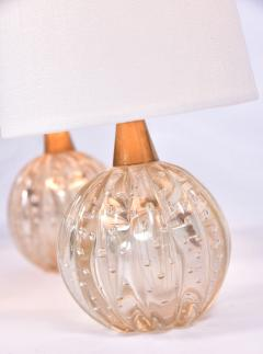 Pair of 1950s pale gold Murano ball lamps - 1485363
