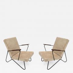 Pair Of 1960s Brazilian Jacaranda Metal Armchairs   504961