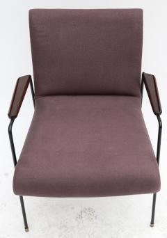 Pair of 1960s Brazilian Jacaranda and Metal Armchairs in Violet Linen - 497485