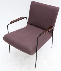 Pair of 1960s Brazilian Jacaranda and Metal Armchairs in Violet Linen - 497486