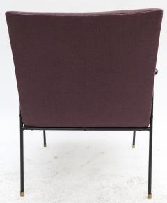 Pair of 1960s Brazilian Jacaranda and Metal Armchairs in Violet Linen - 497487
