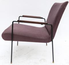 Pair of 1960s Brazilian Jacaranda and Metal Armchairs in Violet Linen - 497492