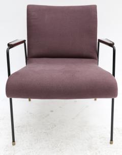 Pair of 1960s Brazilian Jacaranda and Metal Armchairs in Violet Linen - 497503