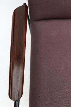 Pair of 1960s Brazilian Jacaranda and Metal Armchairs in Violet Linen - 497505
