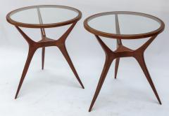 Pair of 1960s Brazilian Spider Leg Wood Side Tables with Glass Tops - 1589447