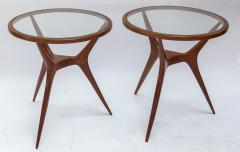 Pair of 1960s Brazilian Spider Leg Wood Side Tables with Glass Tops - 1589454