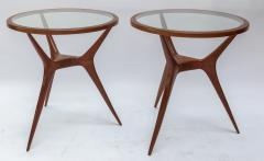 Pair of 1960s Brazilian Spider Leg Wood Side Tables with Glass Tops - 1589456