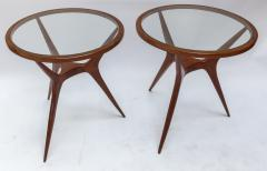 Pair of 1960s Brazilian Spider Leg Wood Side Tables with Glass Tops - 1589457