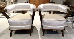 Pair of 1960s White Art Deco Tub Armchairs - 1452748