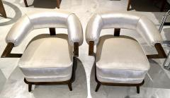 Pair of 1960s White Art Deco Tub Armchairs - 1452749