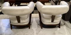 Pair of 1960s White Art Deco Tub Armchairs - 1452750