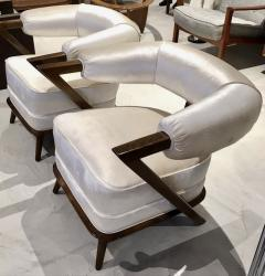 Pair of 1960s White Art Deco Tub Armchairs - 1452751