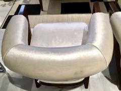 Pair of 1960s White Art Deco Tub Armchairs - 1452752