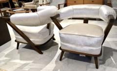 Pair of 1960s White Art Deco Tub Armchairs - 1452756