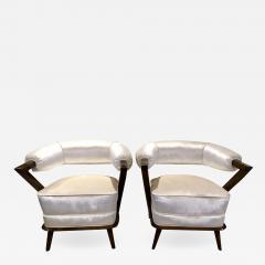 Pair of 1960s White Art Deco Tub Armchairs - 1453699